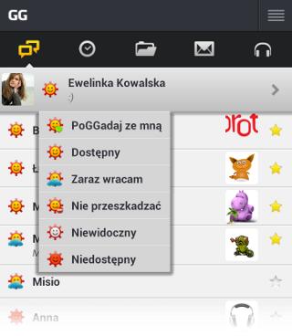 Widok wyboru statusu na aplikacji komunikatora GG w telefonie z systemem Android