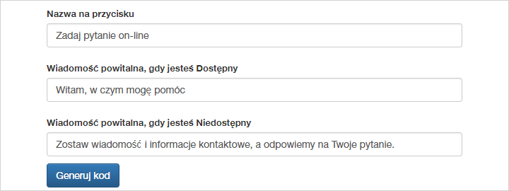 Wpisz nowe treści w odpowiednie okienka tekstowe GG Czata